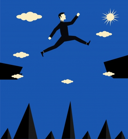 Businessman Jump Risk Vector