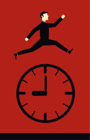 Businessman Jump Time  Vector
