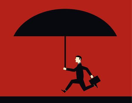 Businessman Big Umbrella Vector