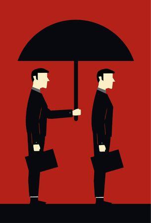 Businessman Umbrella Protecting Client Vector