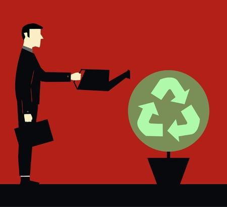 environmental suit: Businessman Ecology Watering