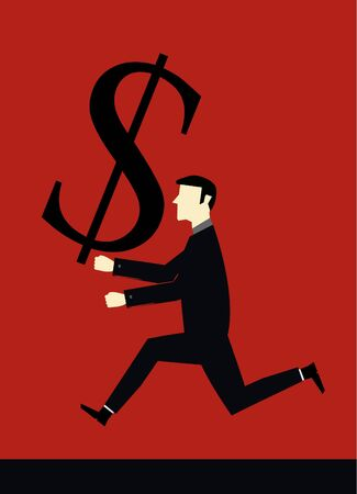 Businessman bring dollar Vector