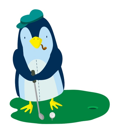 Penguin Golf Vector