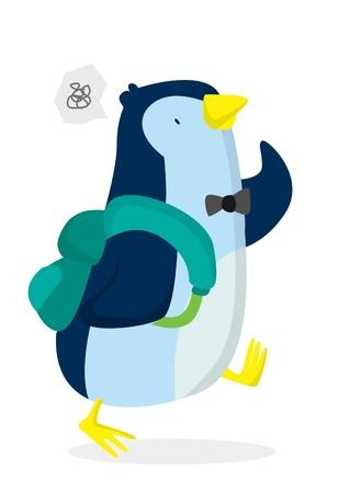 Penguin Go To School Vector