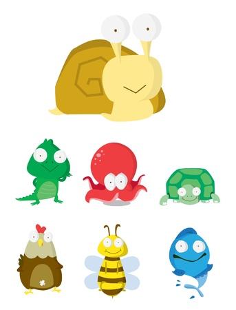 nacktschnecke: Tier-Set Slug, Krokodil, Krake, Schildkr�te, Huhn, Fisch-Bee Illustration