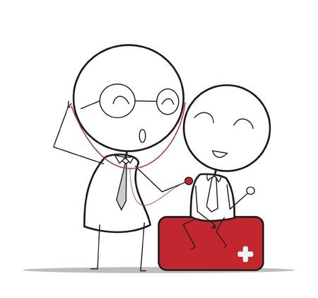 doctors and patient: M�dico revise Vectores