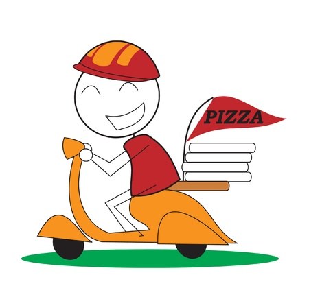 out of the box: Pizza Delivery Illustration