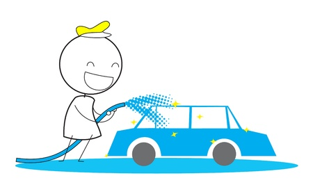 Man Car Wash Vector