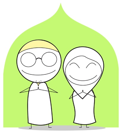 happy muslim couple Vector