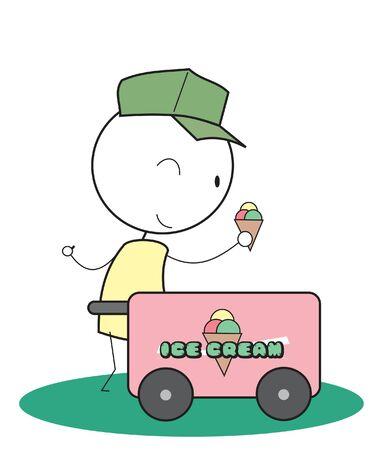 Ice Cream bicycle Vector
