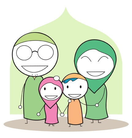 arabic man: moslem family Illustration