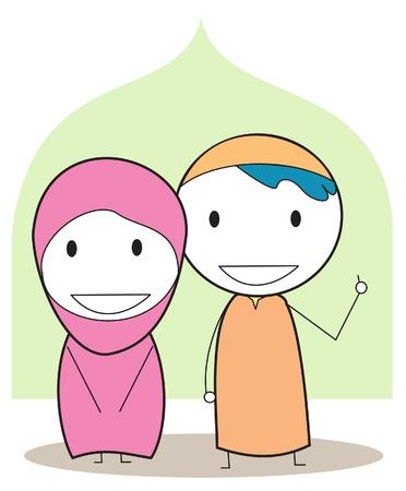 muslim kids Vector