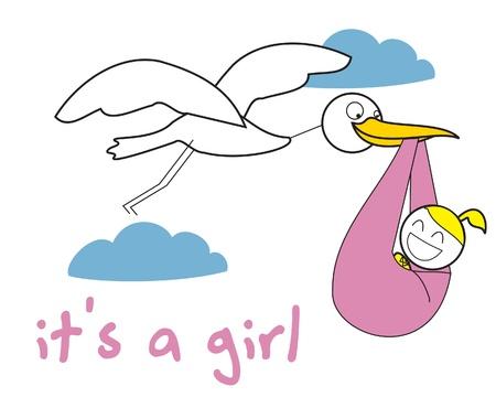 new born baby girl: crane baby girl
