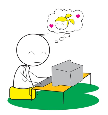 woman laptop happy: boy computer chat Illustration