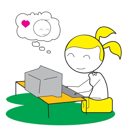 girl computer chat Stock Vector - 14833162