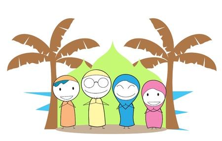 Muslim Family  Vector