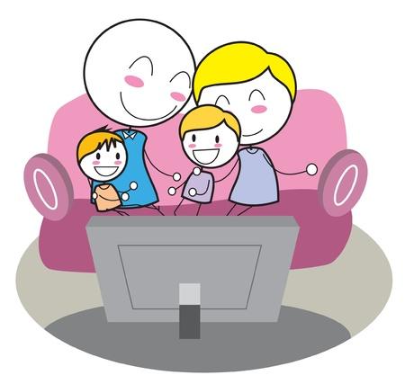 family clipart: famiglia guardare la tv