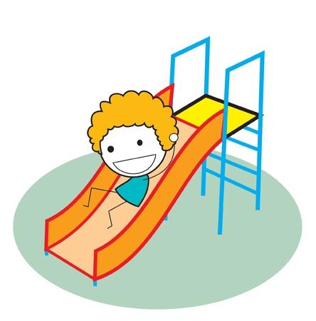 patio escuela: chico deslizante