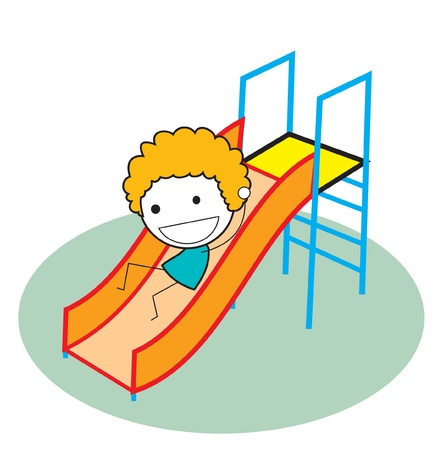 school yard: kid sliding