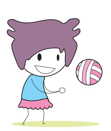 flexible girl: girl volley ball Illustration