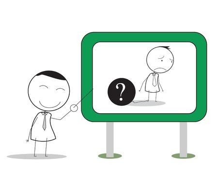 unhappy worker: businessman problem presentation
