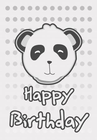 Tarjeta de cumpleaños con la ilustración lindo panda Foto de archivo - 15491055