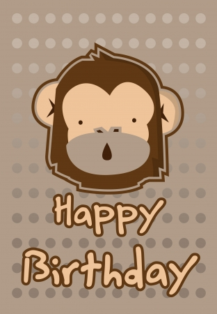 birthday card with illustration cute monkey Vector