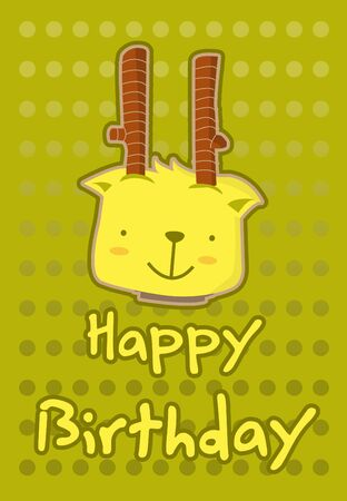 birthday card with illustration cute deer Vector