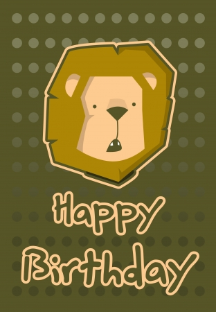 birthday card with illustration cute lion Vector