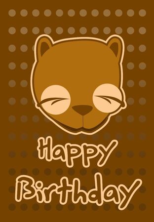 birthday card with illustration cute beaver Vector