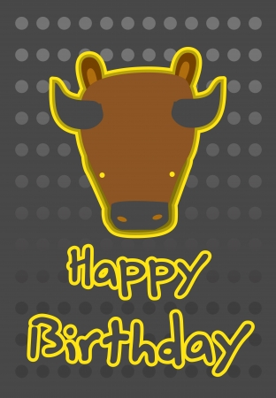 birthday card with illustration cute buffalo Vector
