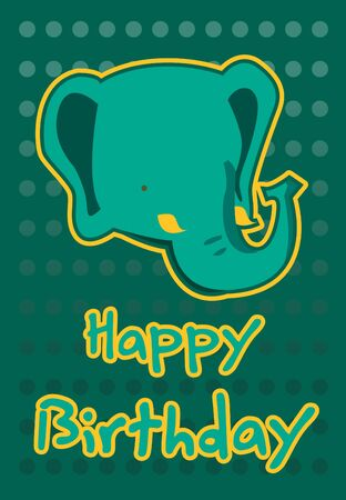 birthday card with illustration cute elephant Vector
