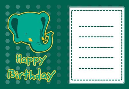 cute elephant birthday card Vector