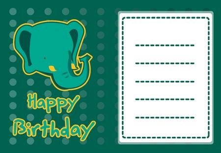 elephant head: cute elephant birthday card