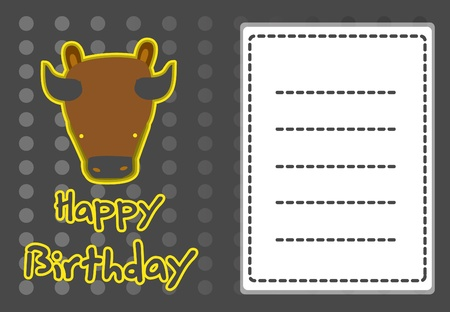 cute buffalo birthday card Vector