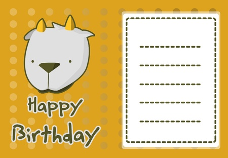 baby goat: birthday card with illustration cute goat Illustration