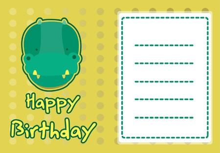 birthday card with illustration cute crocodile Illustration