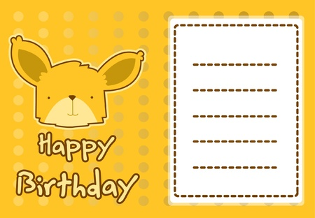 birthday card with illustration cute fox Vector