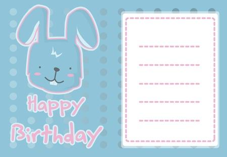 birthday card with illustration cute rabbit Vector