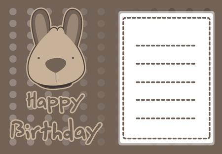 roo: birthday card with illustration cute kangaroo