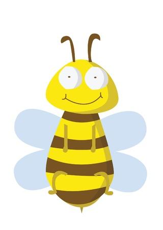 mosca caricatura: abeja divertido
