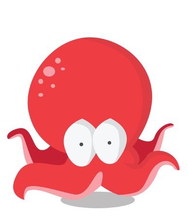 calamar: pulpo divertido Vectores