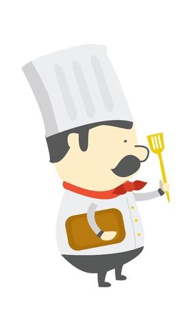 preparing: chef preparing Illustration