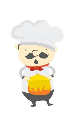 cocina caricatura: chef de cocina