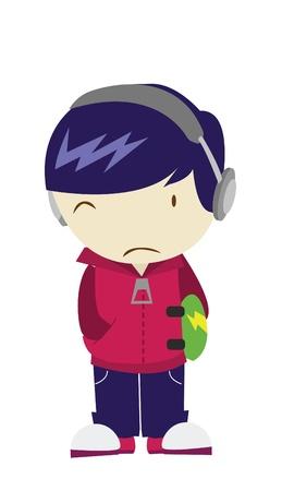 emotional pain: sad boy Illustration