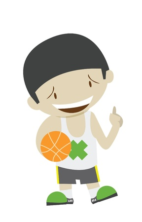happy basketball boy player Vector