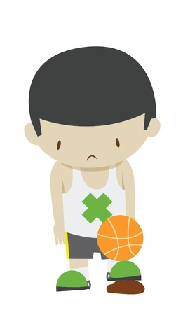 sad basketball boy player Vector