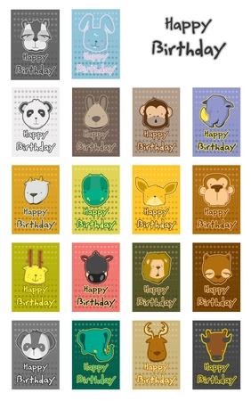 동물의 생일 카드 세트