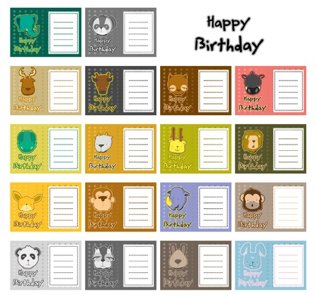 animal birthday card set Vector