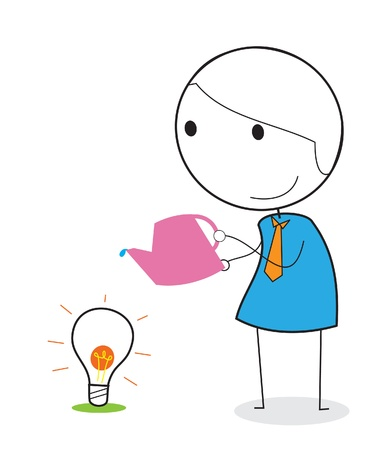 keeping: businessman keeping idea Illustration